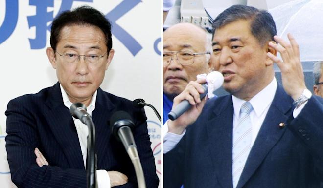 Former foreign minister Fumio Kishida and former defence minister Shigeru Ishiba are considered front runners as Abe's successor. Photo: Kyodo