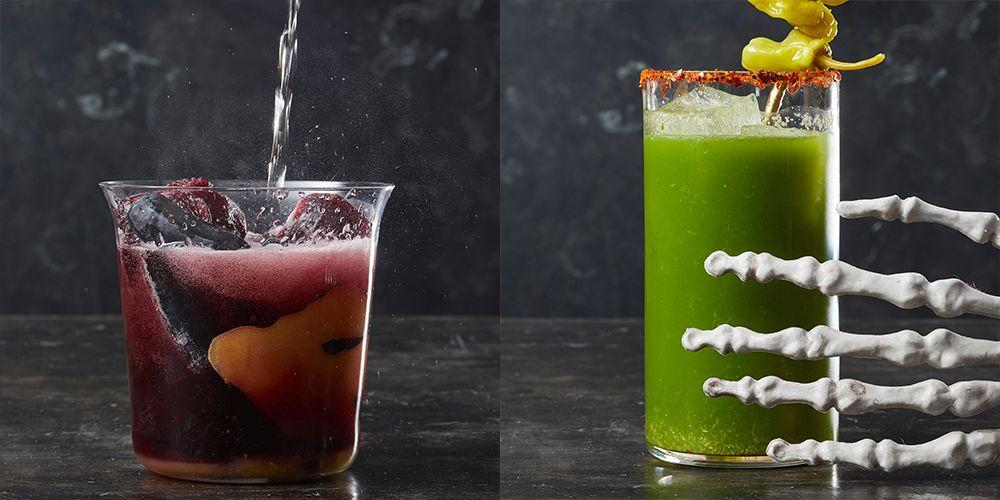 """<p>Some say Halloween is all about the candy, but personally, we're more partial to a glass of witch's brew. Pick your poison this <a href=""""https://www.goodhousekeeping.com/holidays/halloween-ideas/"""" target=""""_blank"""">Halloween</a> with one of these scary-delicious cocktails or non-alcoholic drinks. For the adults, choose between rum, tequila, or vodka cocktails. Since you don't want your little goblins to miss out on the holiday fun, throw together a fizzy, fruity, or creamy mocktail for the kids at your <a href=""""https://www.goodhousekeeping.com/holidays/halloween-ideas/g565/halloween-party-ideas/"""" target=""""_blank"""">Halloween party</a>. No need to be a pro bartender to take on these recipes, all of these Halloween drinks are extremely easy to make and best of all, even<em> easier</em> to drink. That's what makes 'em dangerously good, don't ya think?<br></p><p>Once you figure out which potion, brew, or punch you're going to make, finalize your party menu with these <a href=""""https://www.goodhousekeeping.com/holidays/halloween-ideas/g3727/halloween-appetizer-recipes/"""" target=""""_blank"""">Halloween appetizer</a> and <a href=""""https://www.goodhousekeeping.com/holidays/halloween-ideas/g1394/halloween-party-snacks/"""" target=""""_blank"""">Halloween party snack ideas</a>. And hey, even though these sugar-filled drinks taste like a treat, that doesn't mean that you shouldn't cap off the eeriest night of the year with <a href=""""https://www.goodhousekeeping.com/holidays/halloween-ideas/g2711/halloween-cupcakes/"""" target=""""_blank"""">Halloween cupcakes</a>, <a href=""""https://www.goodhousekeeping.com/holidays/halloween-ideas/g3676/easy-halloween-cookie-recipes/"""" target=""""_blank"""">Halloween cookies</a>, <a href=""""https://www.goodhousekeeping.com/holidays/halloween-ideas/g2700/halloween-cakes/"""" target=""""_blank"""">Halloween cakes</a>, and other party-ready desserts. </p>"""