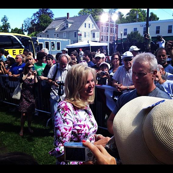 Ann Romney works the crowd in Milford, NH. (Michael P. Falcone/ABC News)