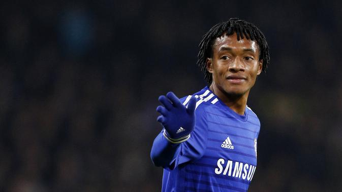 Hanya tampil sebanyak 13 kali bersama Chelsea, Juan Cuadrado kemudian dilepas ke Juventus dengan nilai transfer sebesar 20 juta poundsterling. (AFP/Justin Tallis)