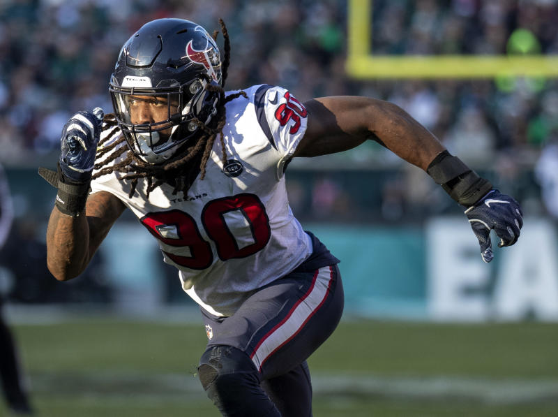 The Houston Texans are waiting for franchise-tagged LB Jadeveon Clowney to report to the team. (AP)