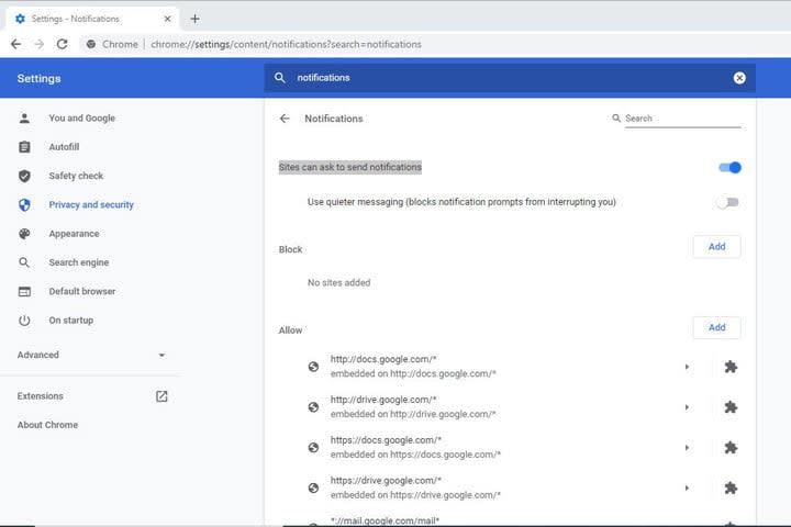 Image of Google Chrome Notifications Menu