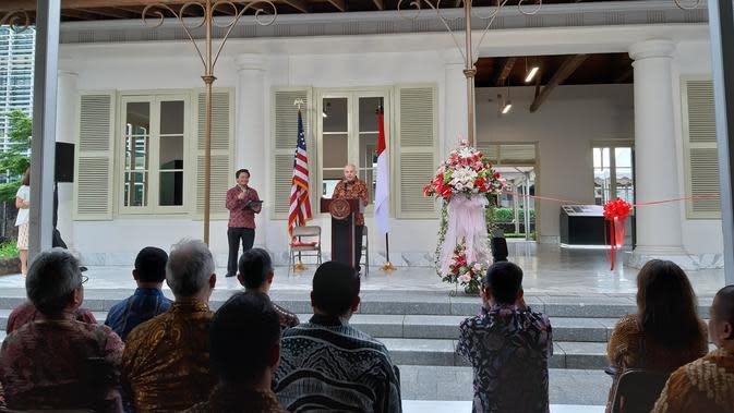 Peresmian restorasi gedung warisan sejarah di kompleks kedutaan di Jakarta Pusat pada Kamis, 23 Januari 2020. (Foto: Liputan6.com/Tommy Kurnia)
