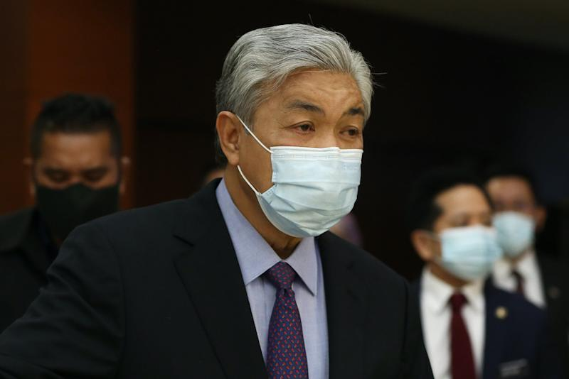 Datuk Seri Ahmad Zahid Hamidi said that Section 143 of the Penal Code punishes those involved in an illegal assembly, where the offender is only sentenced to imprisonment of not more than six months, or a fine, or both. — Picture by Yusof Mat Isa