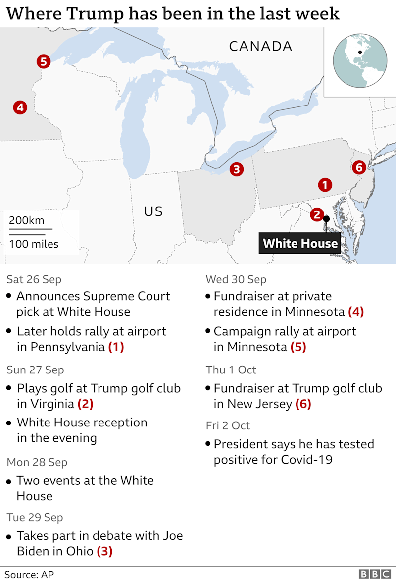 Map showing Trump`s movements in past week
