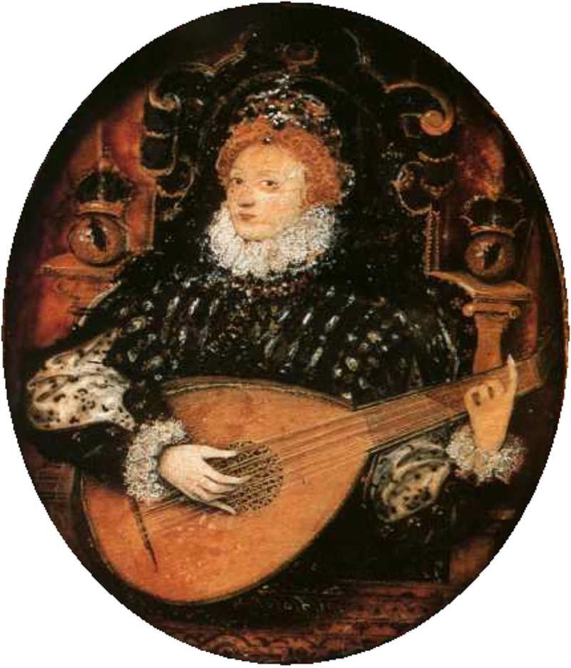 Nicholas Hilliard Elizabeth I Playing the Lute c. 1580 - ART Collection/Alamy