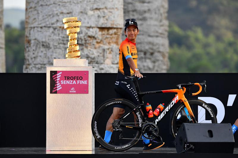 PALERMO ITALY OCTOBER 01 Yukiya Arashiro of Japan and Team Bahrain Mclaren Trofeo Senza Fine Trophy during the 103rd Giro dItalia 2020 Team Presentation in Archaeological Park of Segesta in Palermo City Temple of Segesta girodiitalia Giro on October 01 2020 in Palermo Italy Photo by Stuart FranklinGetty Images