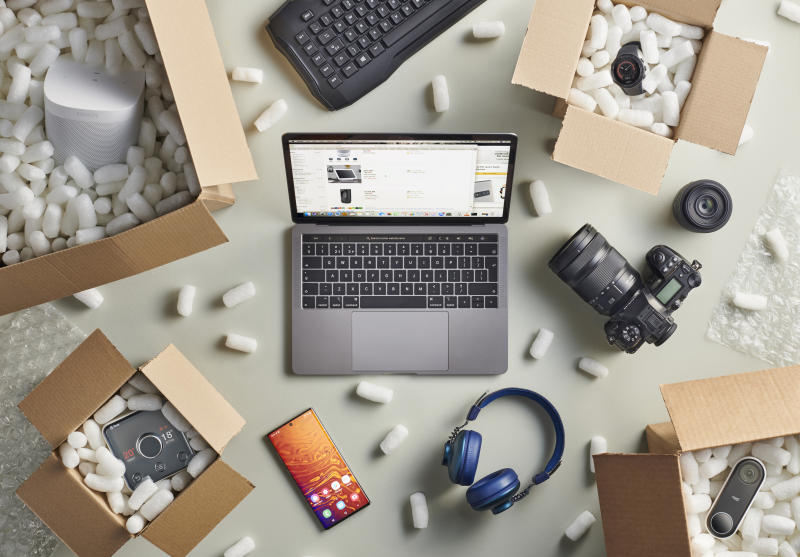 A group of Black Friday online shopping purchases photographed in delivery boxes filled with polystyrene packing pellets, taken on September 13, 2019. (Photo by Neil Godwin/Future Publishing via Getty Images)