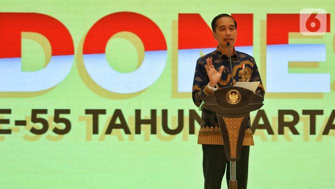 Presiden Joko Widodo memberi sambutan dalam peringatan HUT ke-55 Partai Golkar di Jakarta, Rabu (6/11/2019). HUT ke-55 Partai Golkar mengangkat tema '55 Tahun Partai Golkar Bersatu untuk Negeri Berkarya untuk Bangsa'. (Liputan6.com/JohanTallo)