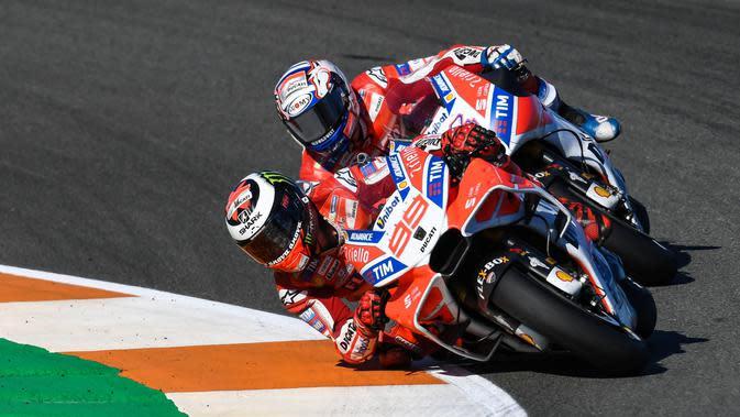 Kepala Teknis Ducati, Gigi Dall'Igna, menegaskan pesan yang diberikan kepada Jorge Lorenzo di MotoGP Valencia hanyalah saran, bukan perintah team order. (dok. MotoGP)