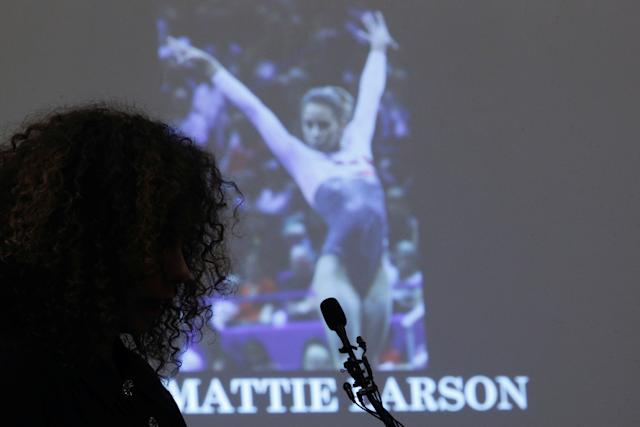 Victim Mattie Larson speaks at the sentencing hearing for Larry Nassar on January 23, 2018. (Brendan McDermid / Reuters)