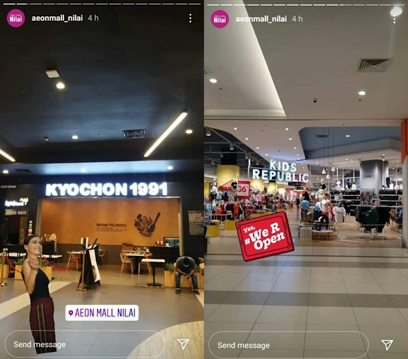 Instagram stories by Aeon Nilai encouraging people to visit. Photos: Aeonmall_Nilai/Instagram