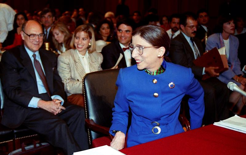 Supreme Court nominee Judge Ruth Bader Ginsburg smiled at her husband Martin during her confirmation hearing before the Senate Judiciary Committee on Capitol Hill in Washington, July 20, 1993. (Photo: REUTERS/Gary Hershorn)