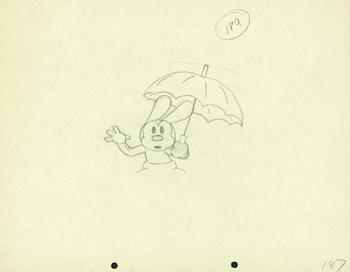 """In this animation drawing released by Disney, an image from the 1928 Oswald the Lucky Rabbit short, """"Sky Scrappers,"""" is shown. The film was the 22nd Oswald short cartoon produced, and was part of Walt Disney's early career success. Oswald the Lucky Rabbit, the wacky predecessor to Mickey Mouse, was brought out of the Disney archive this week and showcased at an event unveiling """"Disney Epic Mickey 2,"""" an upcoming video game that allows players to control Mickey and Oswald. (AP Photo/Disney)"""
