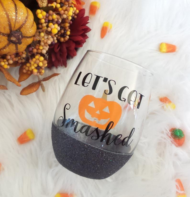 "<p>When you drink from this <a href=""https://www.popsugar.com/buy/Let-Get-Smashed-Halloween-Wine-Glass-477243?p_name=Let%27s%20Get%20Smashed%20Halloween%20Wine%20Glass&retailer=etsy.com&pid=477243&price=12&evar1=yum%3Aus&evar9=46466552&evar98=https%3A%2F%2Fwww.popsugar.com%2Fphoto-gallery%2F46466552%2Fimage%2F46471102%2FLet-Get-Smashed-Halloween-Wine-Glass&list1=halloween%2Cwine%2Ckitchen%20accessories&prop13=api&pdata=1"" rel=""nofollow"" data-shoppable-link=""1"" target=""_blank"" class=""ga-track"" data-ga-category=""Related"" data-ga-label=""http://www.etsy.com/listing/549388086"" data-ga-action=""In-Line Links"">Let's Get Smashed Halloween Wine Glass</a> ($12), be careful not to smash the glass itself - it's too cute to lose!</p>"