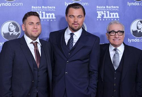 From left, Jonah Hill, Leonardo DiCaprio, and Martin Scorsese arrive at 2014 Santa Barbara International Film Festival - Cinema Vanguard Award ceremony on Thursday, Feb, 6, 2014 in Santa Barbara, Calif. (Photo by Richard Shotwell/Invision/AP)