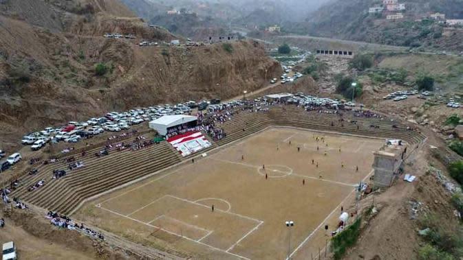 Stadion terindah di Asia, Jazan's Carved Stadium (Saudi Arabia). (Bola.com/Dok. AFC)