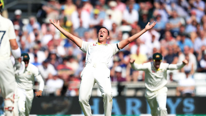 Australia's Josh Hazlewood appeals for the wicket of Joe Denly (not pictured) during day two of the third Ashes Test match at Headingley, Leeds. (Photo by Mike Egerton/PA Images via Getty Images)