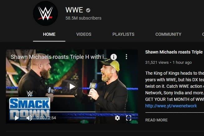WWE YouTube Channel screenshot