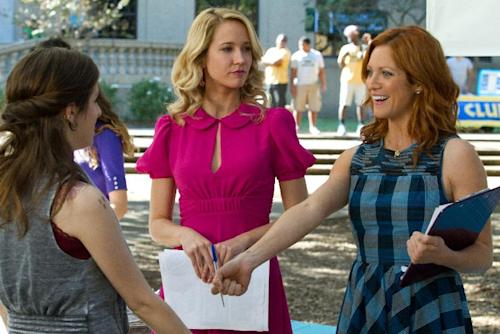 "This image released by Universal Pictures shows Anna Kendrick portraying Beca, left, and Anna Camp portraying Aubrey and Brittany Snow portraying Chloe in a scene from their film ""Pitch Perfect."" (AP Photo/Universal Pictures, Peter Iovino)"