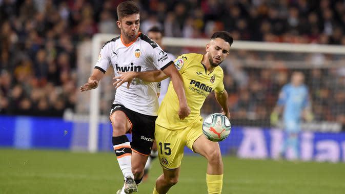 4. Ferran Torres (Valencia) - Gelandang berusia 20 tahun ini memiliki nilai transfer yang tinggi bersama Valencia. Market value Torres saat ini mencapai 50 juta euro. (AFP/Jose Jordan)