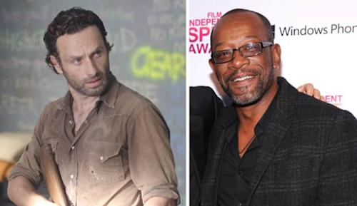 Andrew Lincoln as Rick Grimes in 'The Walking Dead,' Lennie James on the red carpet in Santa Monica -- Getty ImagesGene Page/AMC