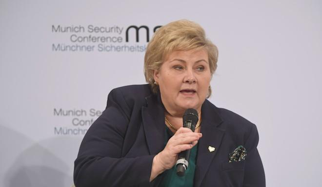 Norwegian Prime Minister Erna Solberg, at the Munich Security Conference on Friday, recounted how relations with China had been frozen for six years following the award of the Nobel Peace Prize to Chinese dissident Liu Xiaobo. Photo: dpa