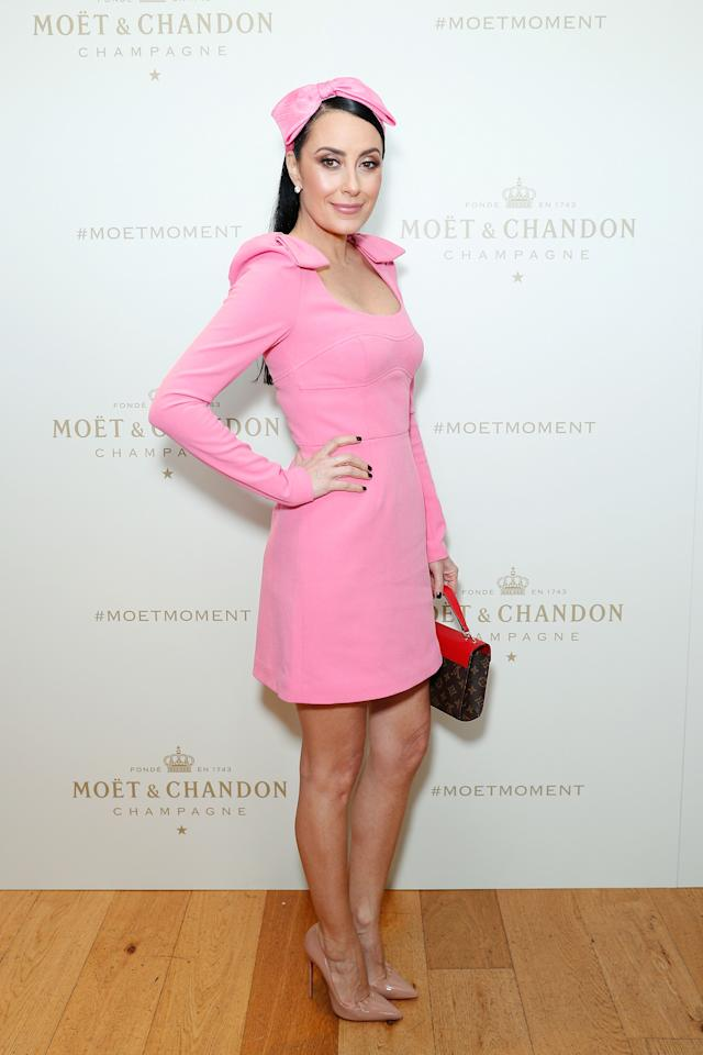 <p>Terry Biviano is pretty in pink at Moet & Chandon Spring Champion Stakes Day at Royal Randwick Racecourse, 2018. </p>