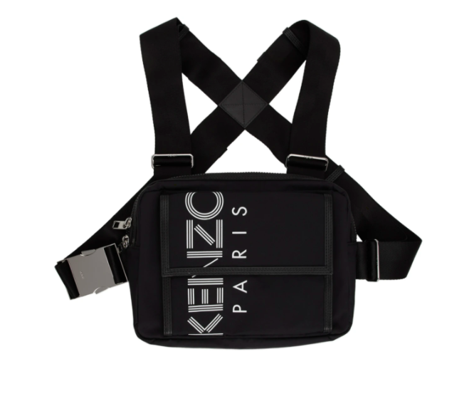 Kenzo black sport logo chest rig backpack, 25% off. US$217 (was US$288.90). PHOTO: Ssense