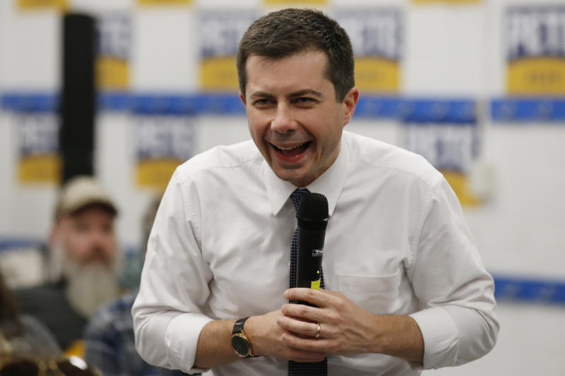 Democratic presidential candidate former South Bend, Ind., Mayor Pete Buttigieg laughs at a campaign event Saturday, Feb. 1, 2020 in Anamosa, Iowa (AP Photo/Sue Ogrocki)