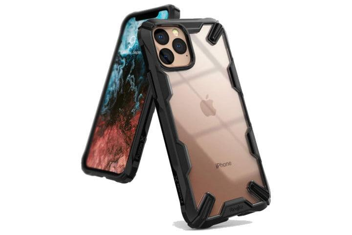Photo shows the front and rear views of an iPhone 11 Pro in a Ringke Fusion X Case