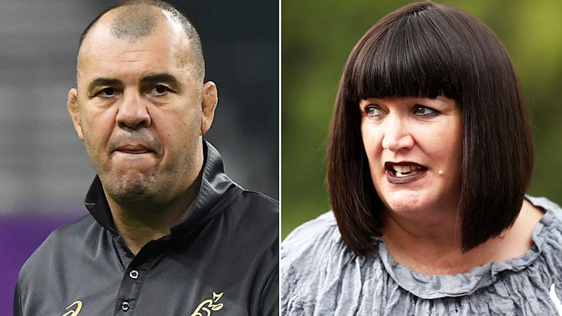 Michael Cheika and Raelene Castle, pictured here during the Rugby World Cup.