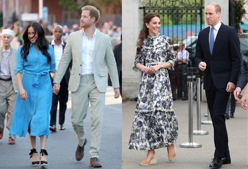 Meghan, Duchess of Sussex and Catherine, Duchess of Cambridge, both seen wearing the Castañer Carina wedges. (Getty Images)