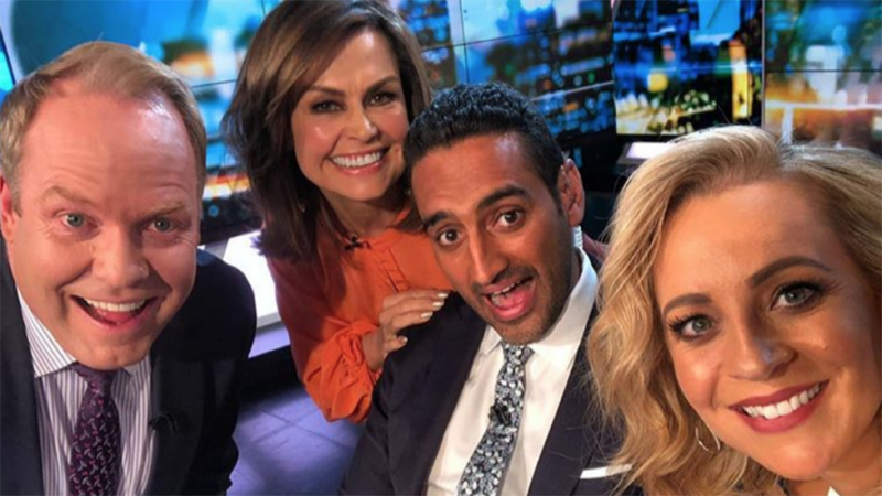 Lisa Wilkinson pictured with the project co-hosts Peter Helliar, Waleed Aly and Carrie Bickmore