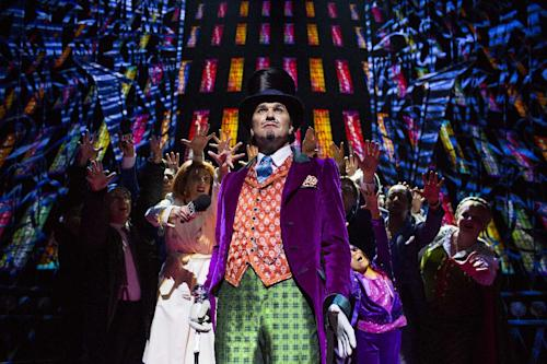 "This undated publicity photo released by The Corner Shop shows Douglas Hodge as Willy Wonka during a performance of the ""Charlie And The Chocolate Factory."" The musical staged in London is a reinterpretation by Oscar-winning director Sam Mendes, with music and lyrics by Marc Shaiman and Scott Wittman. (AP Photo/The Corner Shop, Helen Maybanks, File)"