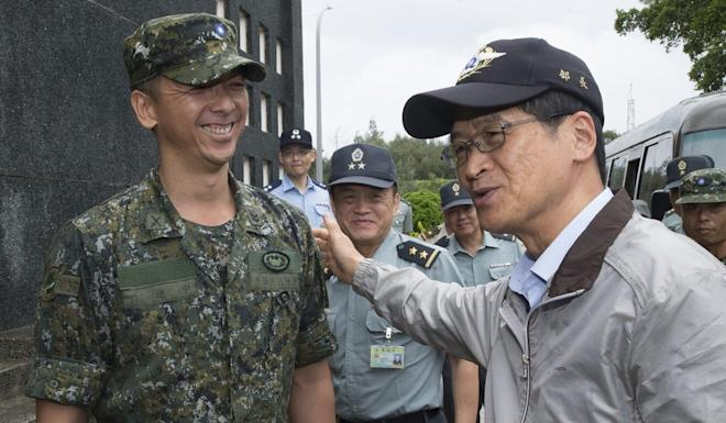 Taiwanese Defence Minister Yen Te-fa (right) said the island's military would prepare for the worst-case scenario. Photo: CNA