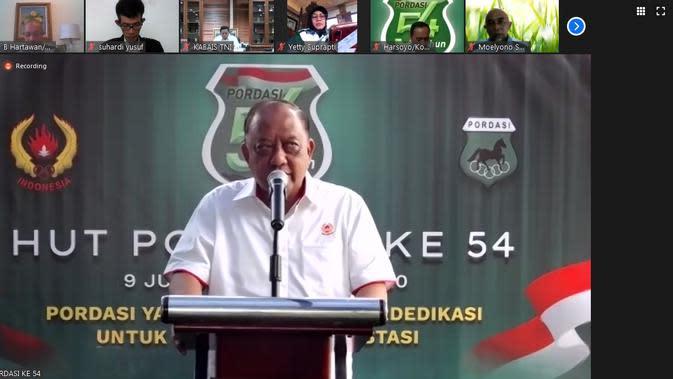 Ketua Umum KONI Pusat, Marciano Norman, memberikan sambutan dalam hari jadi PP Pordasi ke-54, Selasa (9/6/2020) (Zoom)