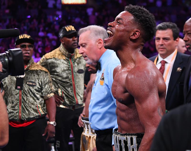LOS ANGELES, CA - SEPTEMBER 28: Erroll Spence Jr. reacts in the ring after defeating Shawn Porter (not pictured) in their IBF & WBC World Welterweight Championship fight at Staples Center on September 28, 2019 in Los Angeles, California. Spence, Jr won by decision. (Photo by Jayne Kamin-Oncea/Getty Images)