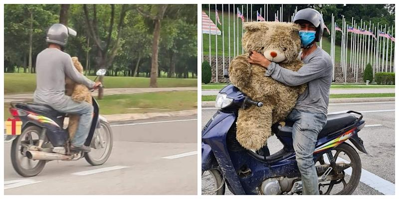 Local businessman, Azri Walter stumbled upon a man carrying a huge teddy bear while on his way to his office in Putrajaya. — Photo courtesy of Facebook/Azri Walter
