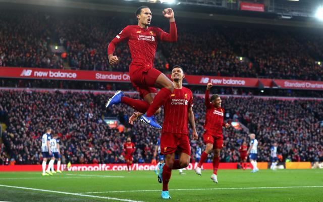 利物浦的维吉尔·范·迪克(Virgil Van Dijk)在利物浦足球俱乐部和布莱顿·霍夫·阿尔比恩之间的英超联赛中庆祝自己的球队首个进球-Getty Images欧洲