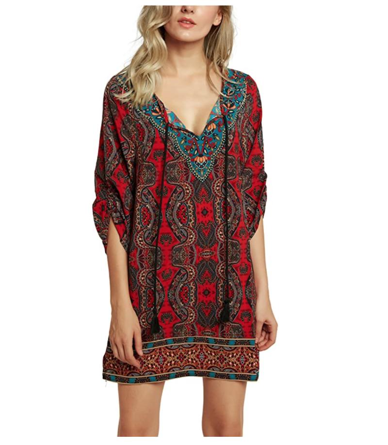 Urban CoCo Bohemian Print Shift Tunic Dress. Image via Amazon.