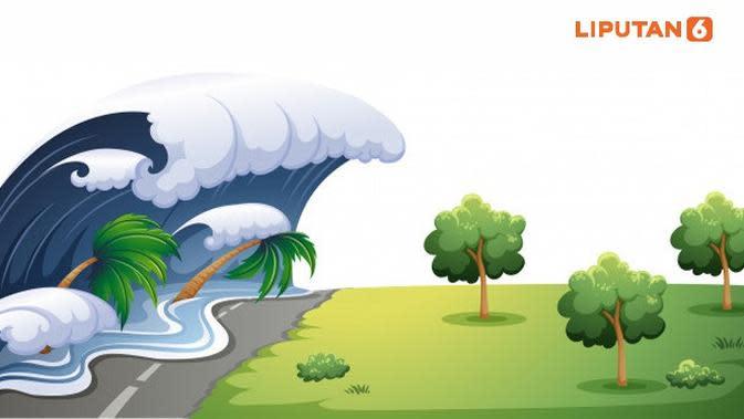 Banner Infografis Ancaman Tsunami 20 Meter di Selatan Pulau Jawa. (Liputan6.com/Trieyasni)