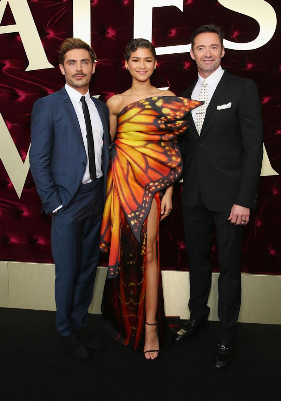 Zac Efron, Zendaya and Hugh Jackman on the red carpet. Source: Getty