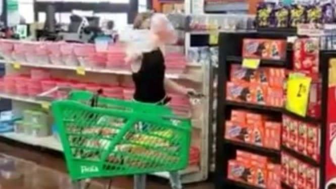 Disuruh Pakai Masker, Wanita Ini Marah-marah Hingga Lempar Belanjaan