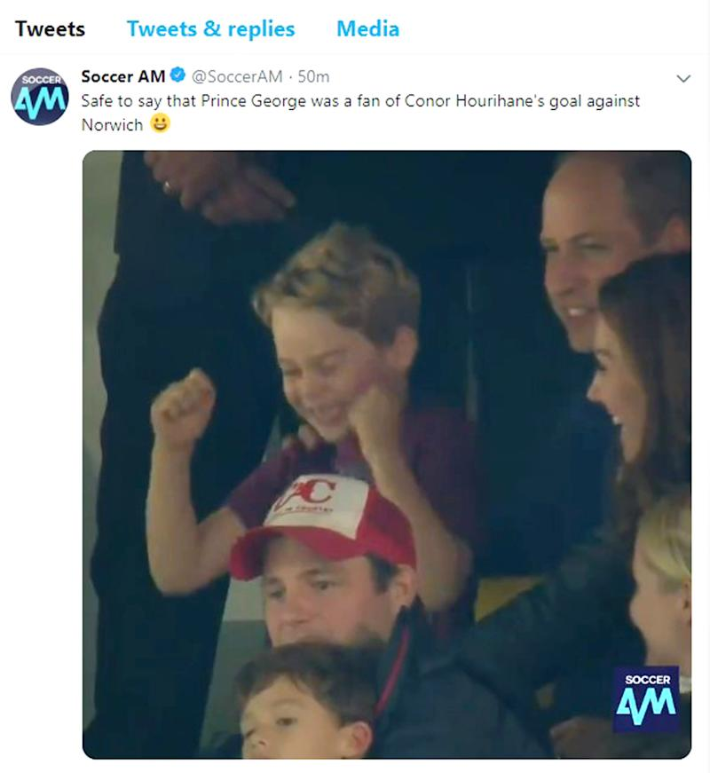 Prince George cheering on Aston Villa at Carrow Road in Norwich
