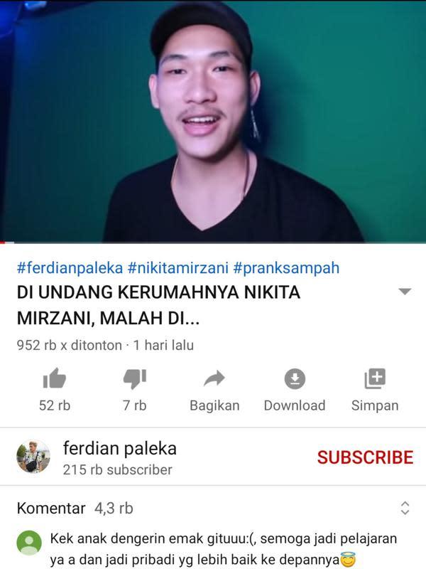 Unggahan Ferdian Paleka. (Foto: YouTube Ferdian Paleka)