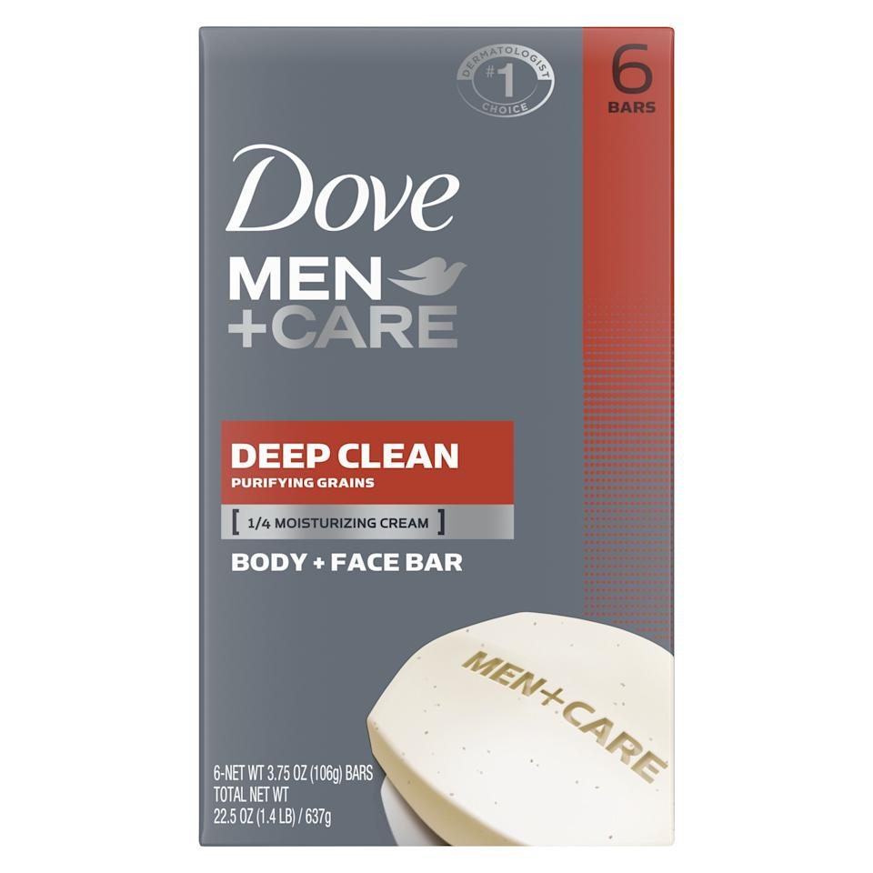 """<p><strong>Dove Men+Care</strong></p><p>walmart.com</p><p><strong>$6.88</strong></p><p><a href=""""https://go.redirectingat.com?id=74968X1596630&url=https%3A%2F%2Fwww.walmart.com%2Fip%2F14205867&sref=https%3A%2F%2Fwww.esquire.com%2Fstyle%2Fgrooming%2Fg32744330%2Fbest-bar-soaps-for-men%2F"""" target=""""_blank"""">Buy</a></p><p>If you're looking for a lot of bang for your buck, you really can't do better than Dove's moisturizer-packed face and body bars.</p>"""