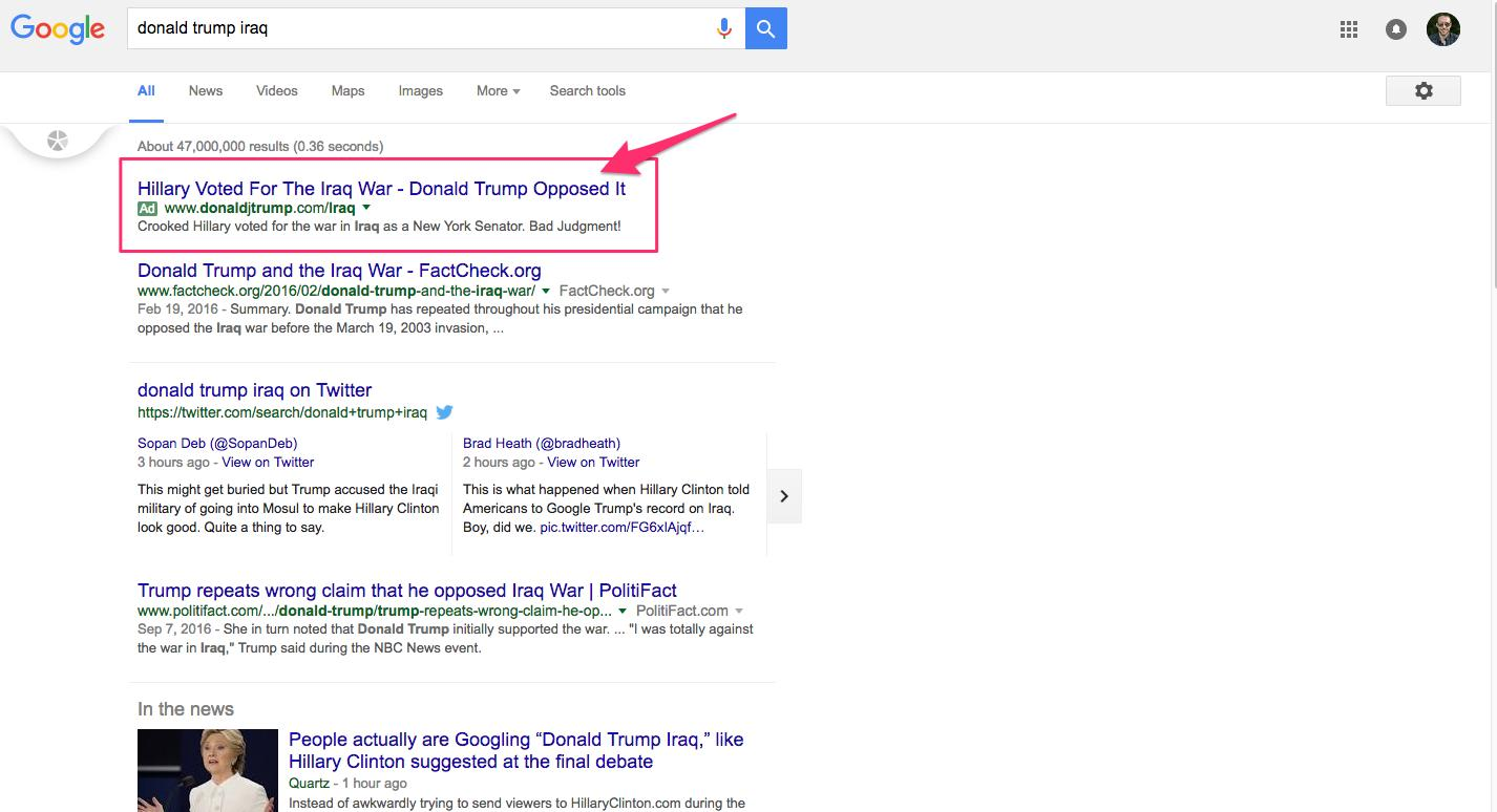 Donald Trump S Google Adwords Strategy Was Ninja Level