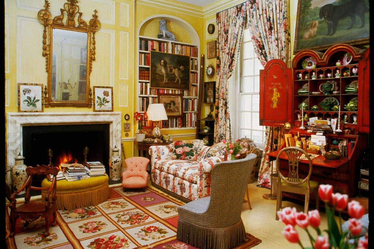 <p>Inspired by Nancy Lancaster's famous drawing room in London, not to mention the English country look popularized by his friend designer John Fowler, New York decorator Mario Buatta chose this sunny shade for his own living room, where it served as crisp foil for his collections, from books to dog paintings and more.</p>