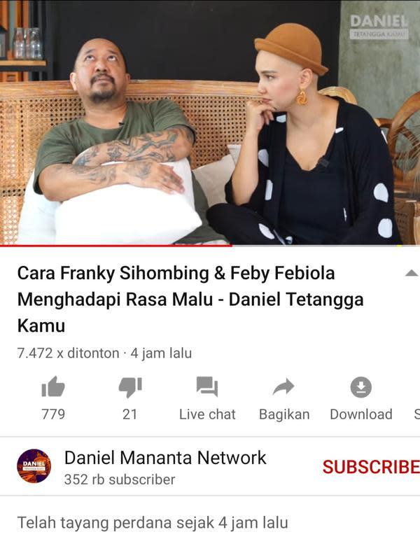 Feby Febiola dan Franky Sihombing. (Foto: YouTube Daniel Mananta Network)